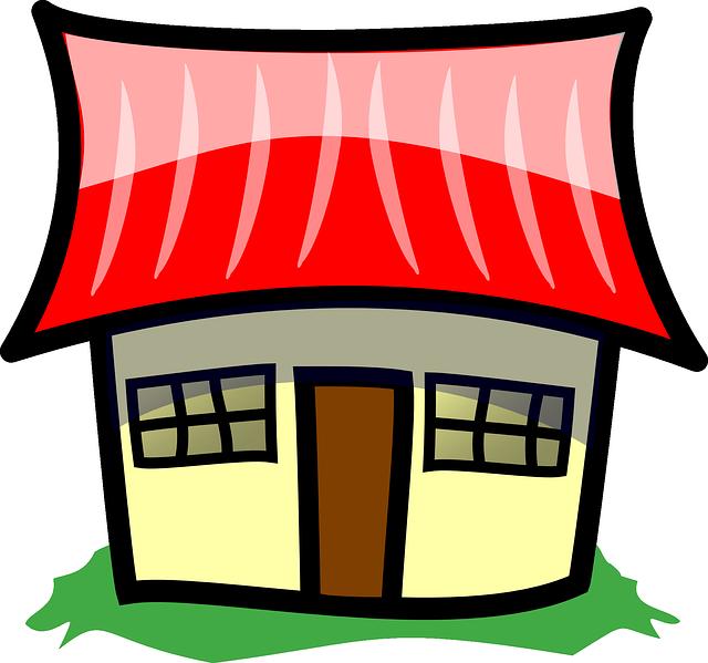 kreslený domek, velká červená střecha