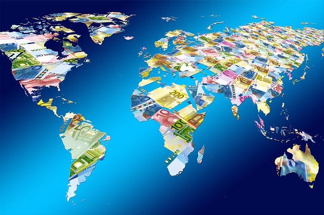 svět z evropských bankovek