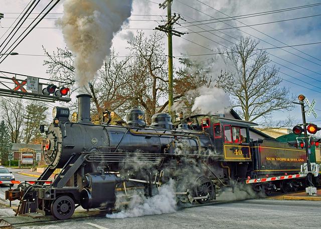 jedoucí parní lokomotiva